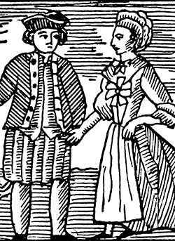 Woodcut image of lovers parting