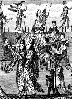 Woodcut image of musicians